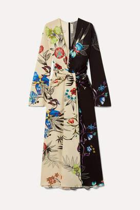 Etro Twist-front Floral-print Crepe De Chine Maxi Dress - Cream