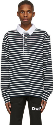 Daniel W. Fletcher Navy and White Striped Rugby Long Sleeve Polo