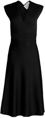 Victor Glemaud Cross-Back Merino Wool Fit-&-Flare Dress