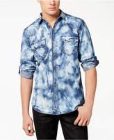 INC International Concepts Men's Acid Wash Denim Shirt, Created for Macy's