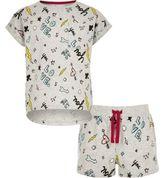 River Island Girls Grey doodle print T-shirt pyjama set