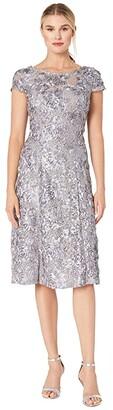Alex Evenings Tea Length A-Line Rosette Dress (Dove) Women's Dress