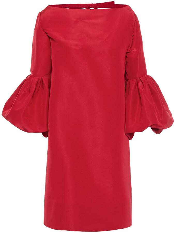 Thumbnail for your product : Oscar de la Renta Fluted Bow-embellished Silk-faille Mini Dress