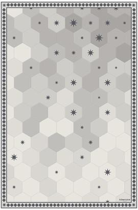PODEVACHE - Hexagonal Tiles Vinyl Floor Mat - Grey - 99x150cm