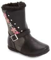 Laura Ashley Toddler Girl's Faux Fur Lined Crystal Flower Boot
