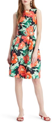 Oscar de la Renta Poppies Print Faille Fit & Flare Dress