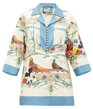 Gucci Mickey Mouse And Animal-print Silk Blouse - Womens - Blue Multi