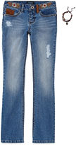 Squeeze Embroidered-Waist Bootcut Jeans and Bracelet Set - Girls 7-14