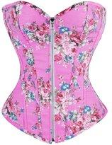 Bslingerie Womens Floral Denim Boned Bustier Corset Size: L