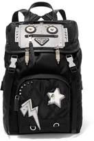 Prada Embellished Leather-trimmed Quilted Shell Backpack