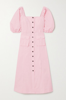 Ganni Cotton-blend Ripstop Midi Dress - Baby pink