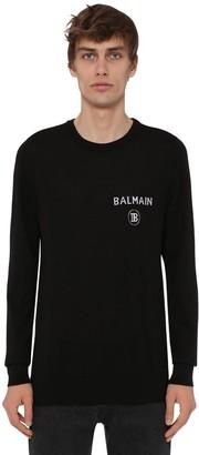 Balmain Logo Knit Cashmere Crewneck Sweater