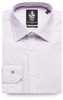 Jeff Banks Big And Tall Lilac Vertical Block Striped Formal Shirt