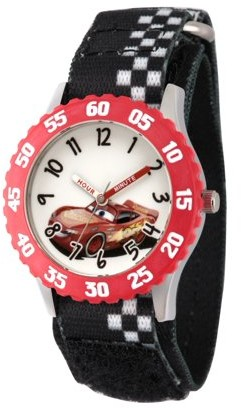 Disney Cars 3 Lightning McQueen Boys' Stainless Steel Time Teacher Watch, Red Bezel, Black Hook and Loop Nylon Strap with White Plaid Printing