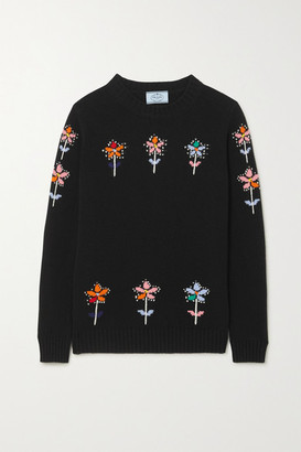 Prada Intarsia Wool And Cashmere-blend Sweater - Black