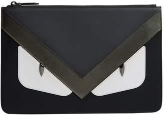 Fendi Leather Bags Bugs Stripe Pouch