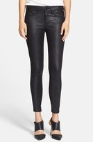 Habitual 'Grace' Coated Faux Leather Skinny Jeans (Charred)