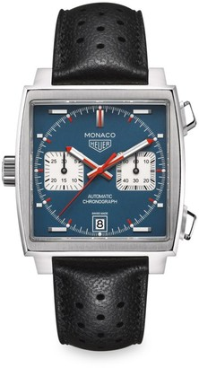 Tag Heuer Monaco 39MM Calibre 11 Stainless Steel & Perforated Black Leather Strap Automatic Chronograph Watch