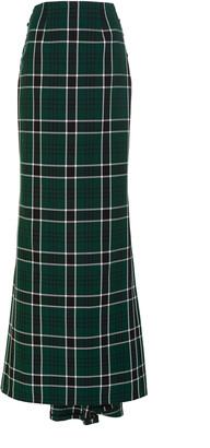 Rosie Assoulin Tie-Detailed Plaid Crepe Maxi Skirt