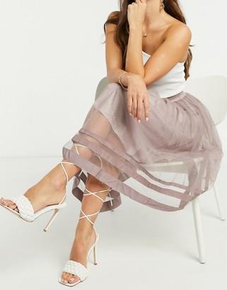 Little Mistress tulle midi skirt in gray