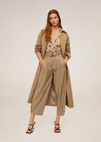 MANGO Cotton baggy pants medium brown - XS - Women