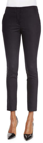The Row Flat-Front Skinny Pants, Black