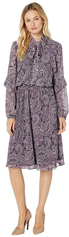 Lauren Ralph Lauren Paisley-Print Georgette Dress (Plum Wine Multi) Women's Dress