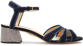 Charlotte Olympia Janice Embellished Leather-trimmed Suede Sandals