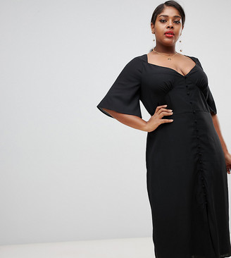 Fashion Union Plus plus maxi dress with flutter sleeves-Black