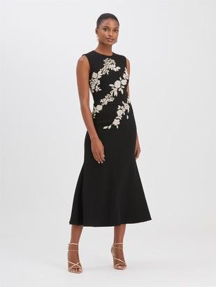 Oscar de la Renta Crystal Floral Embroidered Dress