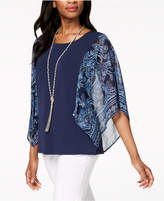 JM Collection Colorblocked Chiffon-Sleeve Top, Created for Macy's