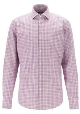 BOSS Regular-fit shirt with three-coloured Vichy check