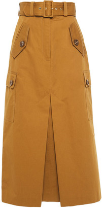 Zimmermann Belted Cotton-twill Midi Skirt