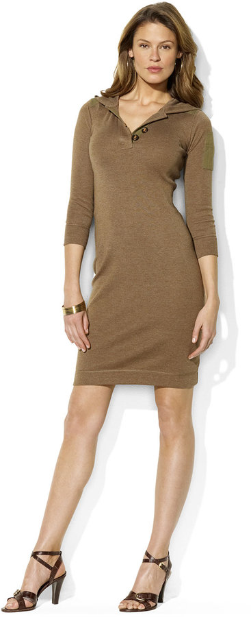 Lauren Ralph Lauren Stretch Cotton Hooded Dress