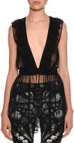 Alexander McQueen Sleeveless Embroidered Tulle Peplum Blouse