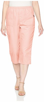 Chic Classic Collection Women's Plus Size Cotton Pull-on Utility Pocket Capri with Elastic Waist