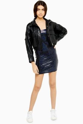 Topshop Womens Black Holographic Bodycon Dress - Black
