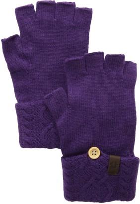 True Religion Women's Cable Knit Fingerless Glove Purple One Size