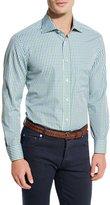 Kiton Check Pocket Sport Shirt, Green/Blue