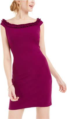 Bebe Ruffled Off-The-Shoulder Bodycon Dress