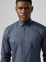 Frank + Oak Printed Stretch-Poplin-Cotton Shirt in Blue
