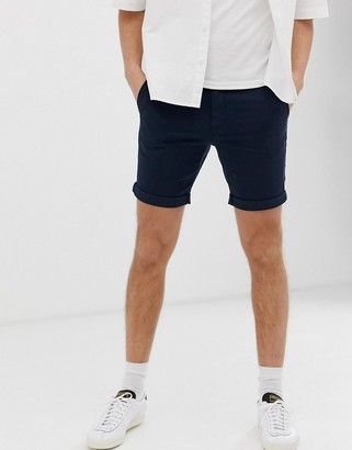 Selected chino shorts in organic cotton-Navy