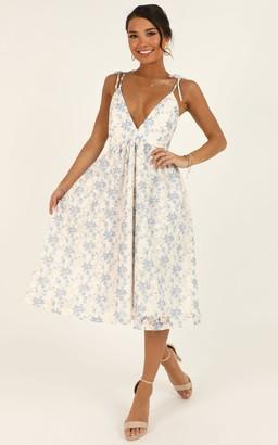 Showpo Lace Get It On Dress In white blue lace - 4 (XXS) Dresses