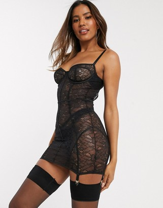 ASOS DESIGN Laura lace underwire corset slip dress with suspender