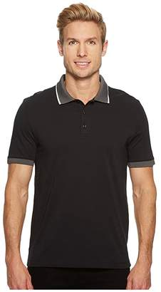 Perry Ellis Tipped Collar Pima Cotton Polo (Black) Men's Clothing