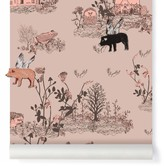 SIAN ZENG Woodland magnetic wallpaper and magnets - powder pink
