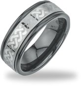 AX Jewelry Tungsten Black Ceramic Men's Laser-etched Band Ring