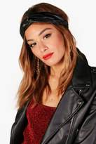 boohoo Jhene Leather Look Twist Knot Headband