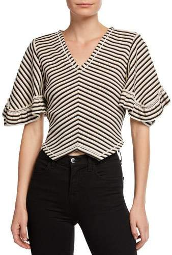 See by Chloe Striped V-Neck Cropped Blouse