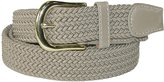 CTM Mens Elastic Gold Buckle and Matching Tabs Braided Stretch Belt, Medium